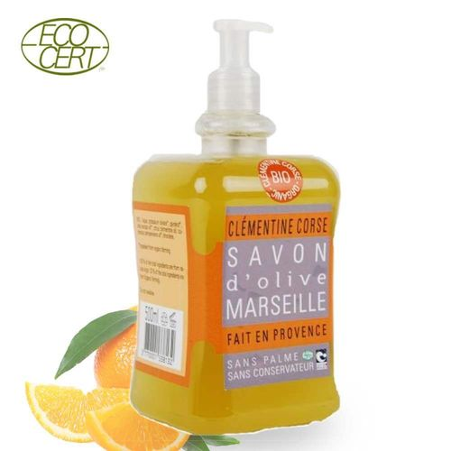 Marseille Seife flüssig 100% Bio Olive-Orange 500ml Tomelea